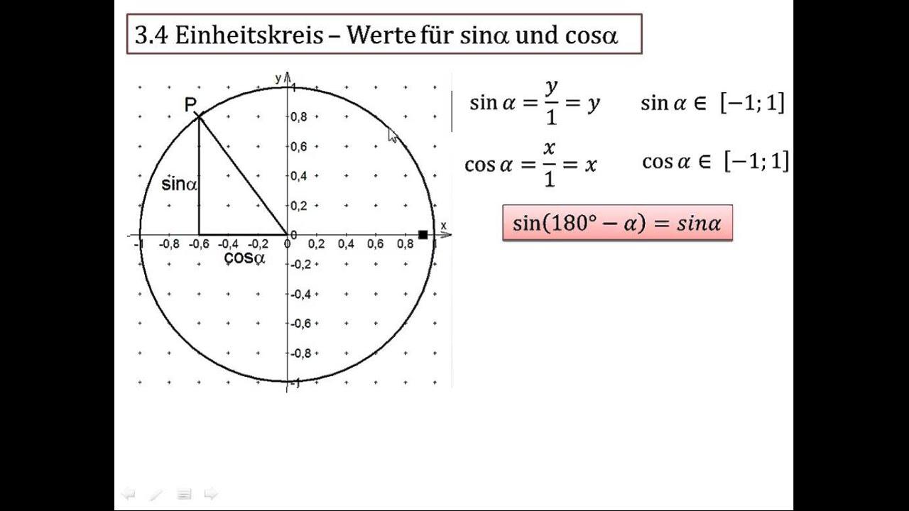 3.4 Einheitskreis - Werte für Sinus und Cosinus - YouTube