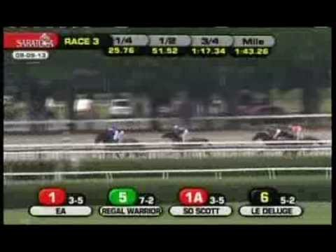 SO SCOTT wins marathon 2-mile race in the slop at Saratoga - August 9, 2012