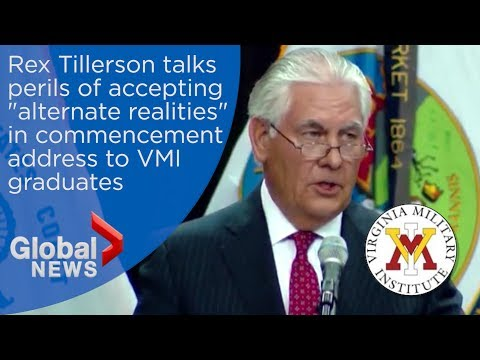 "Rex Tillerson alludes to threat from Trump's ""alternative facts"" in VMI commencement speech"