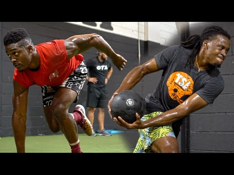 Football Players Training For Power