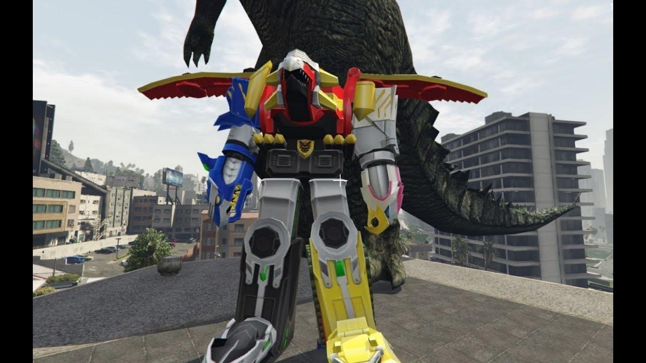 GTA 5 - 5 anh em siêu nhân và GaoKing đại chiến siêu khủng long   GHTG