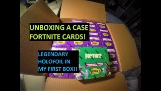 Unboxing a case of Fortnite trading cards