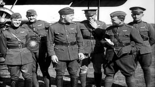 Men of United States 148th Aero Squadron in Berques, France during World War I. HD Stock Footage