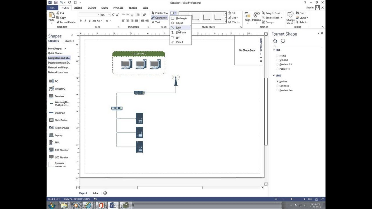 How To Make A Schematic Diagram Danfoss Vlt 2800 Wiring Create Basic Network With Visio 2013