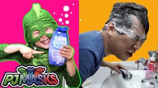 라임의 샴푸 거품이 계속나와요! 출동파자마삼총사 도마배미로 변신! pj masks Transform Superhero real life라임튜브