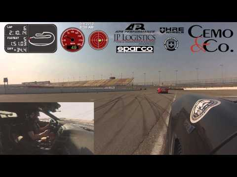 Stephanie Cemo driving fast and hard at Auto Club Speedway in Fontana, CA