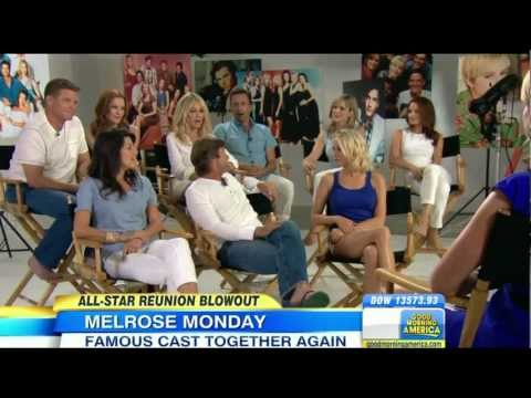 Josie Bissett  Amazing legs in tiny shorts  Melrose Place reunion  gma