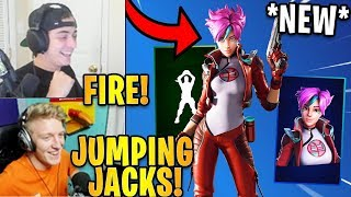 "Streamers React to the *NEW* ""MIKA"" Skin & Jumping Jacks Emote! 