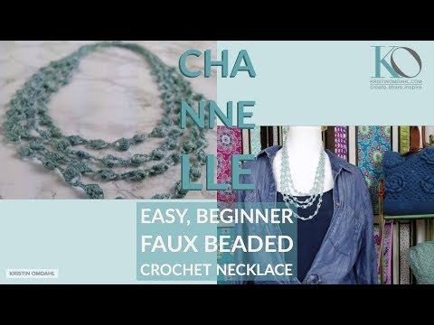 How to Make Chanelle Faux Beaded LEFT HAND Crochet Necklace Beginner Easy Pattern