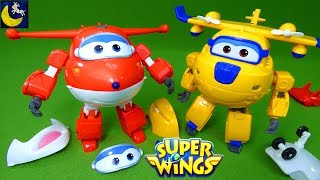 Super Wings Toys Transform N Talk Donnie and Jett Airplane Transforming Bot Take Apart Toys Video