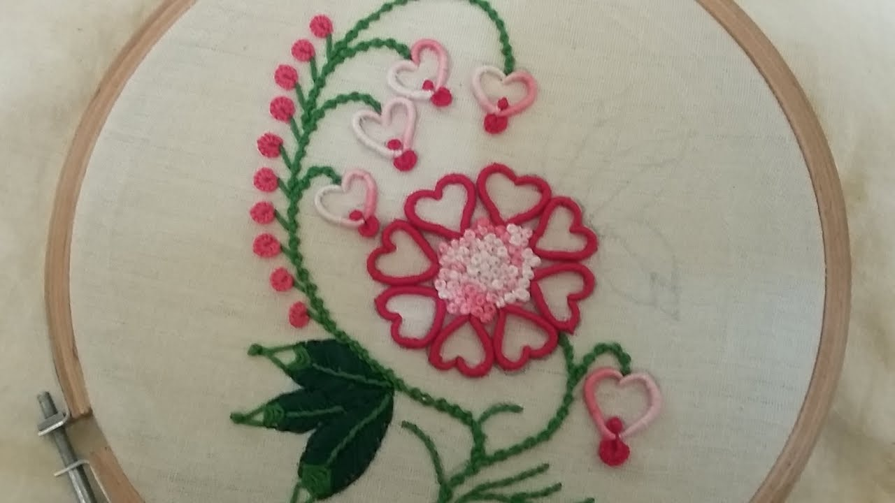 Hand Embroidery Of Beautiful Heart Shaped Flower Youtube