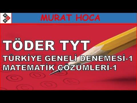 Töder Türkiye Geneli TYT Denemesi1 Matematik Çözümleri-1