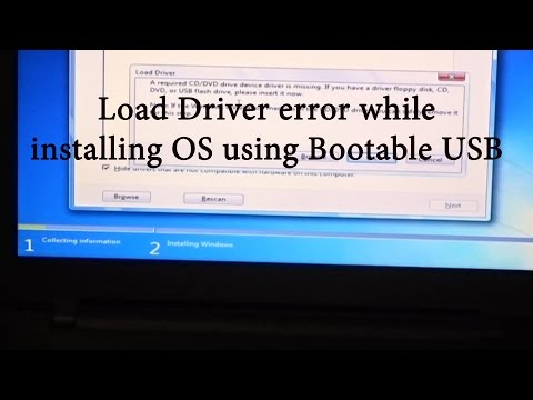 Load Driver error while installing from Bootable USB drive : fix