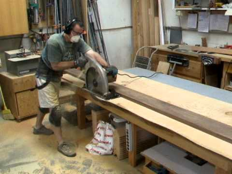 Cutting A Large Fir Slab With A Beam Saw Youtube