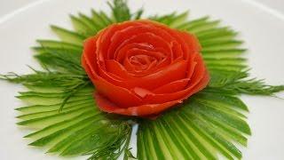 Как сделать розу из помидора(Как сделать розу из помидора? Все очень просто и легко. Для изготовления украшения можно использовать множе..., 2014-11-12T10:14:35.000Z)