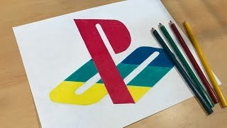 How to Draw the Colorful Playstation Logo | Logo Speed Draw