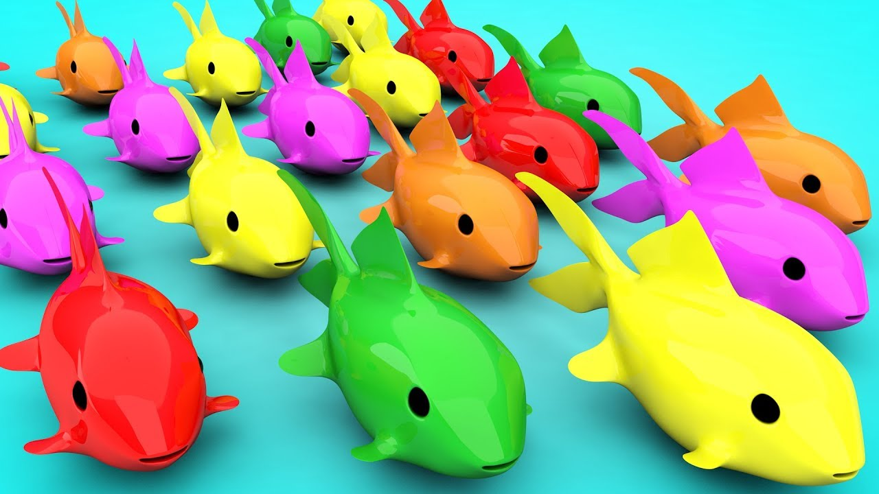 Learn Colors 3D Sand Rainbow Fish For Kids | Colours Animals Slide Water For Children Toddlers