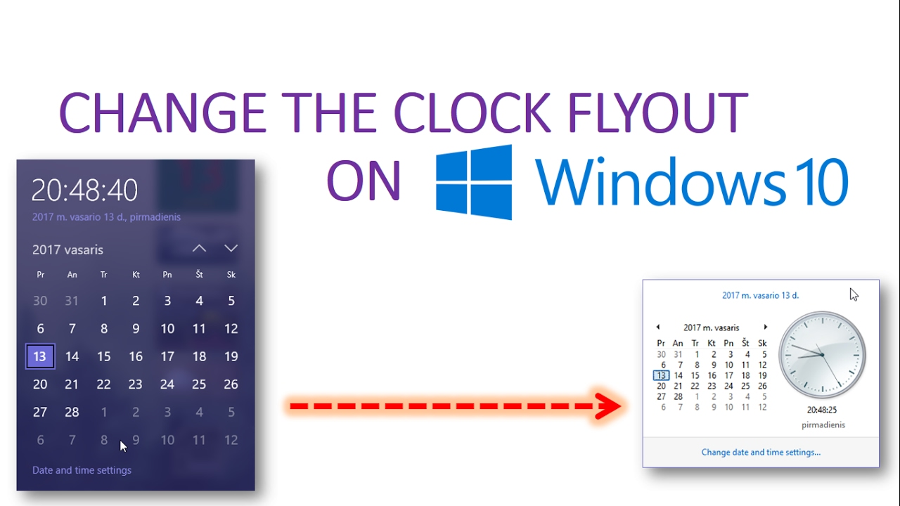 Get an Old Clock Flyout on Windows 10