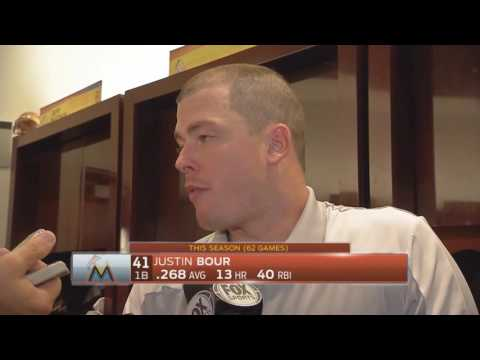 Justin Bour -- Miami Marlins vs. Chicago Cubs 06/24/2016