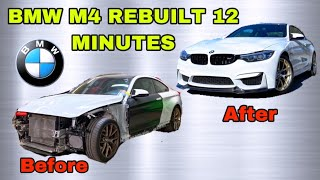 REBUILDING A WRECKED 2019 BṀW M4 IN 12 MINUTES INCREDIBLE REBUILD TRANSFORMATION