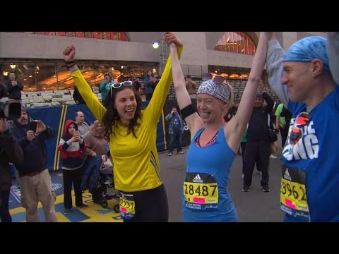 Adrianne Haslet Crosses Boston Marathon Finish Line