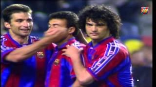 Luis Enrique and Juan Carlos Valerón as players in a Barça - Las Palmas (3-0)