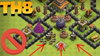 Town Hall 8 (TH8 EPIC BASE) Best Trophy Base Anti 2 Star (Impossible to Get Town Hall) + Replays