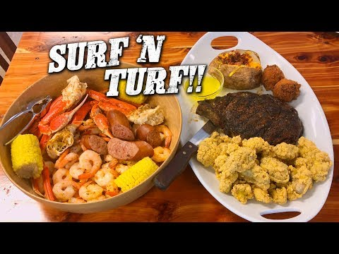 Surf N Turf Challenge w/ Steak, Fried Oysters, and Low Country Boil!!