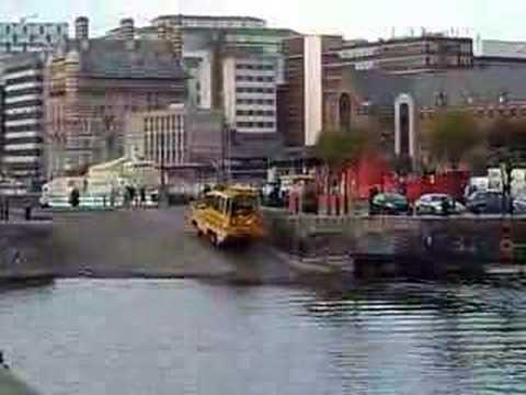 Amphibious duck vehicle leaving the water in Liverpool