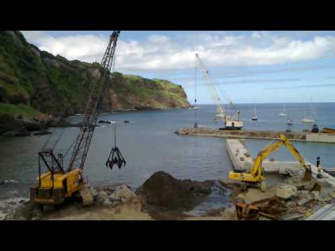 Harbour heavy construction work, Praia da Calheta, Lajes, Flores, Azores