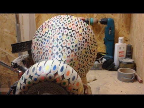 Woodturning - A large 400 coloured pencil and epoxy vase