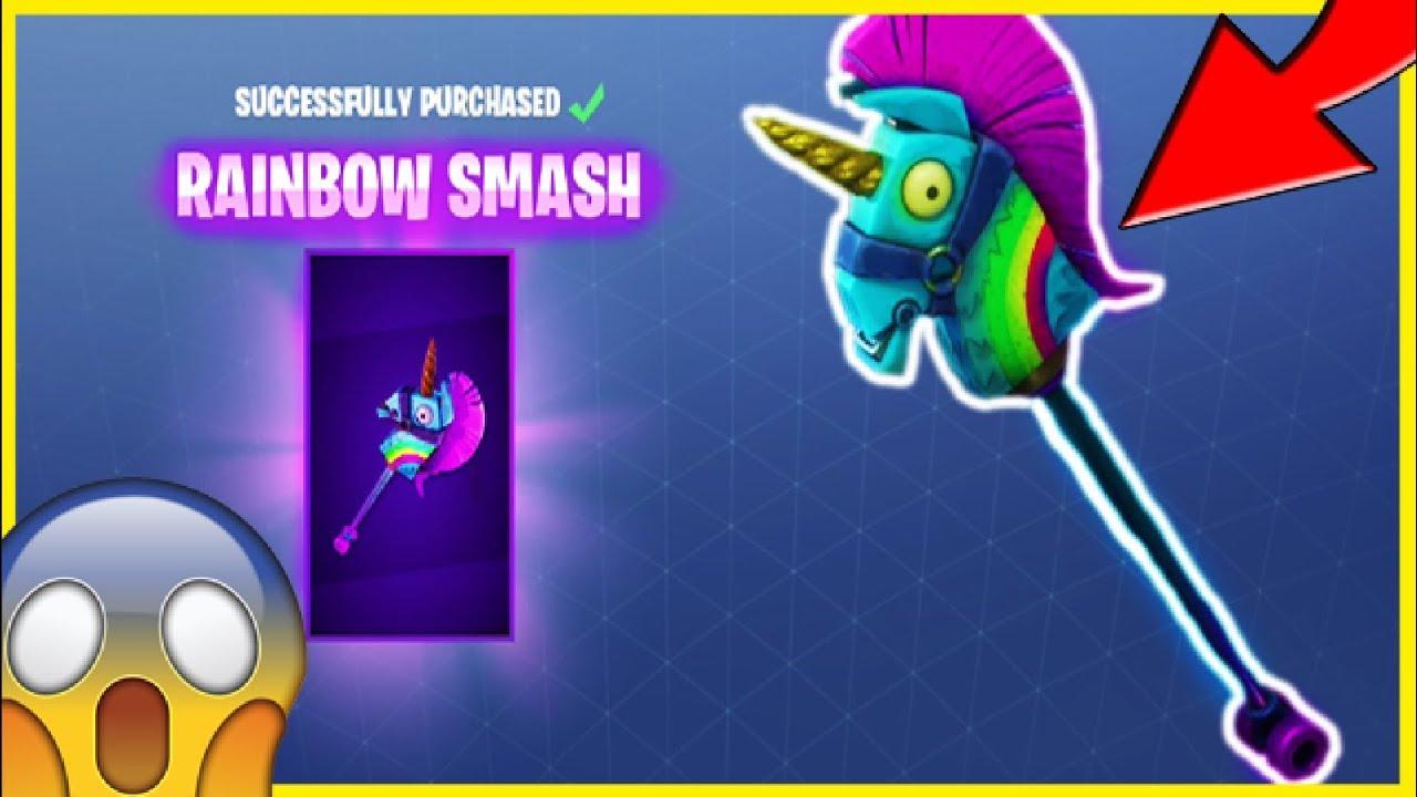 New Rainbow Smash Pickaxe Llama Unicorn Pickaxe