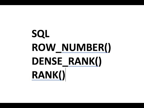 SQL Analytical Functions ROW_NUMBER() DENSE_RANK() RANK() Highest SALARY