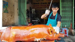 Street food - The Master Has The Skill Of Cutting Giant Roast Pork