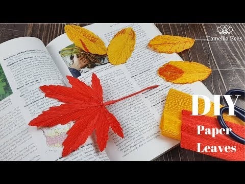 Paper leaves How to make simple Fall/ Autumn leaf  from crepe paper - Craft Tutorial