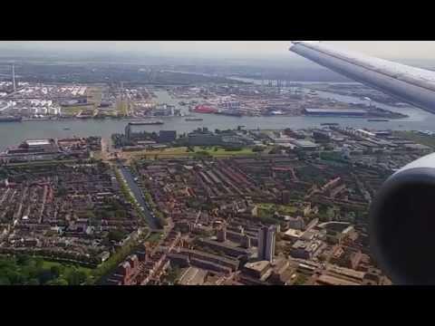Landing Transavia 737 op Rotterdam Waanzinnige aanvliegroute!
