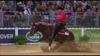 Bernard Fonck, équipe de Belgique de reining, pendant lors des jeux équestres mondiaux.