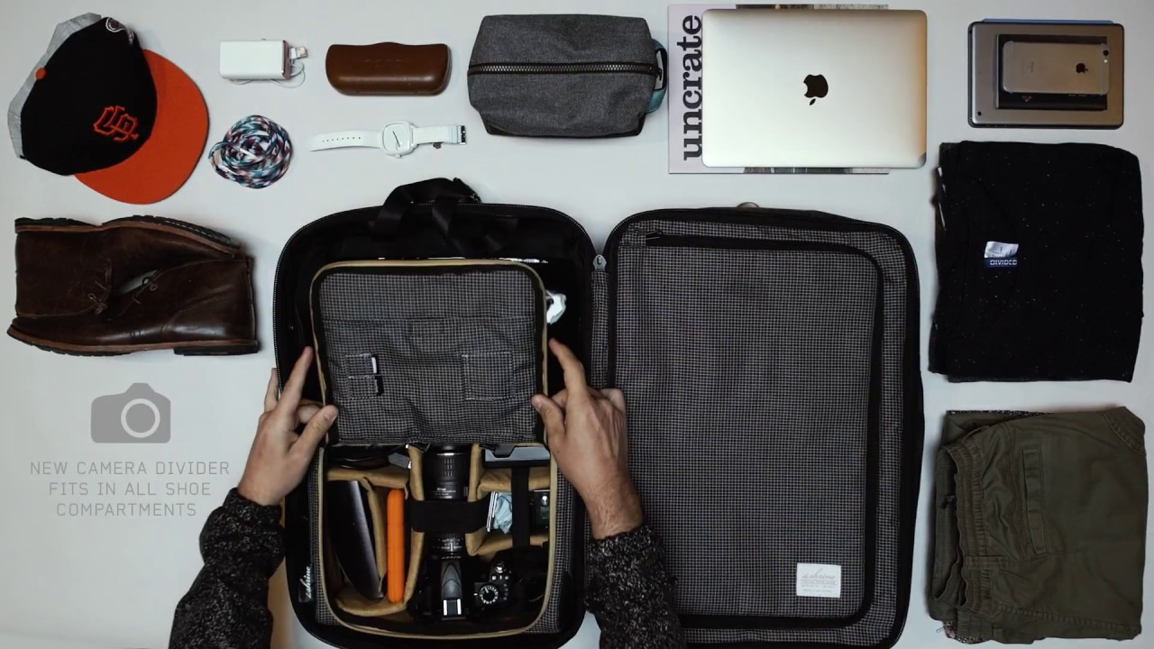 Shrine Black Gold Collection Weekender Backpack packing