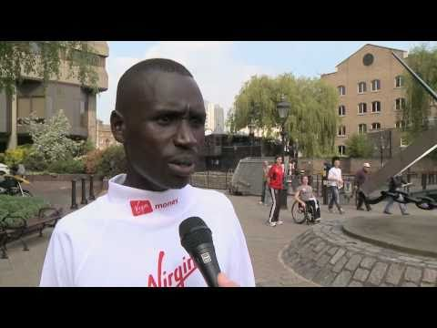 London Marathon men's champ Emmanuel Mutai talks with Andy Edwards.