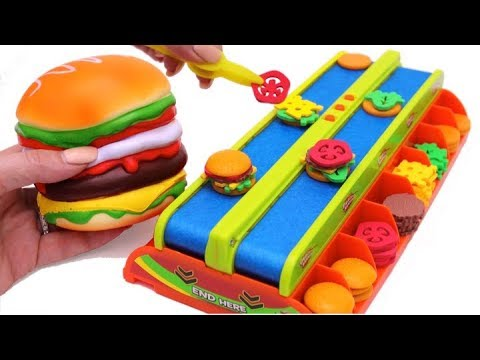 Hamburger Squishy Toy and Microwave Kitchen Toy Burger Mania Game Learn Fruits & Vegetables for Kids