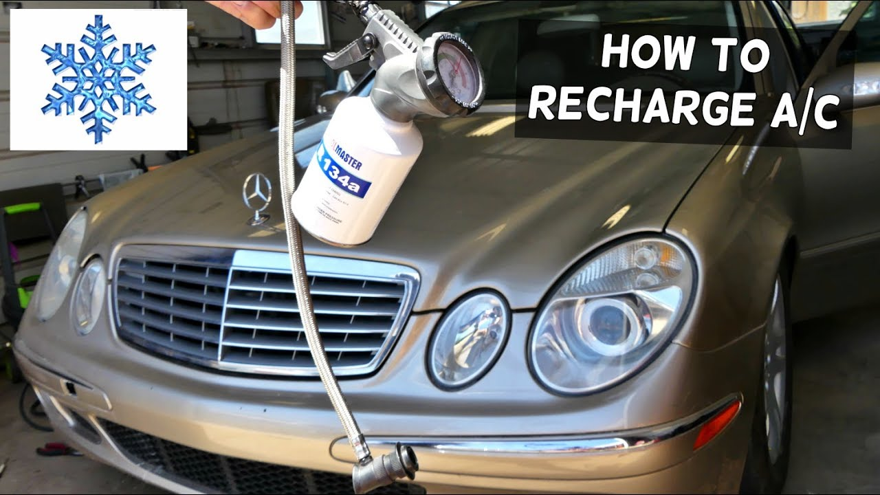 MERCEDES W211 HOW TO RECHAGE THE AIR CONDITIONER AC E320