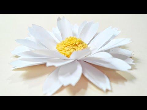 Chamomile, daisy paper flower diy tutorial.Paper flowers easy for children, for kids,for beginners