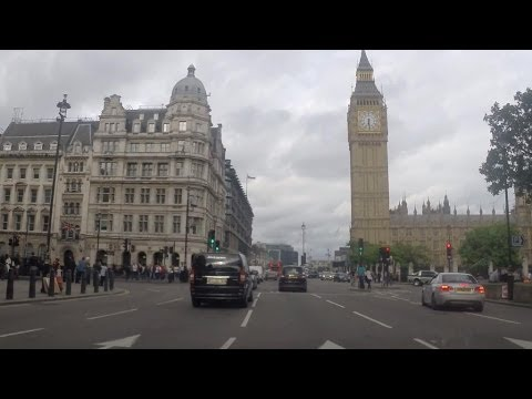 Driving in London - Trafalgar Square to Parliament Square