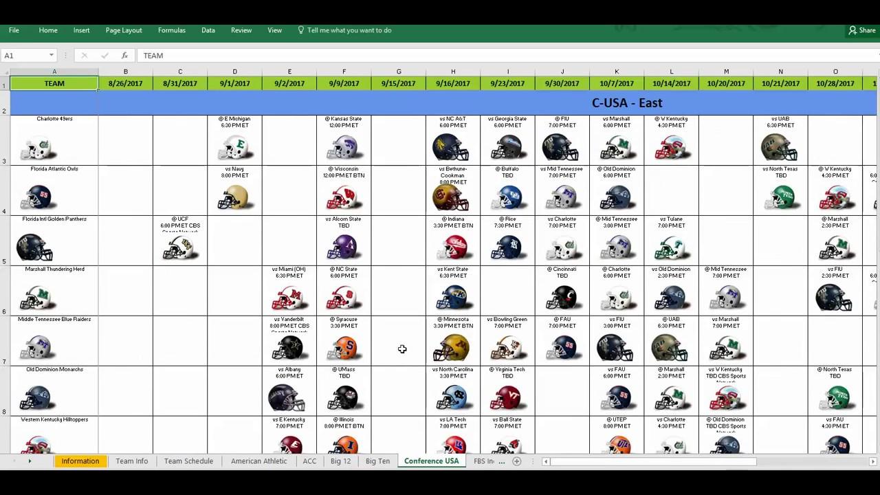 2017 ncaa college football helmet schedule spreadsheet youtube