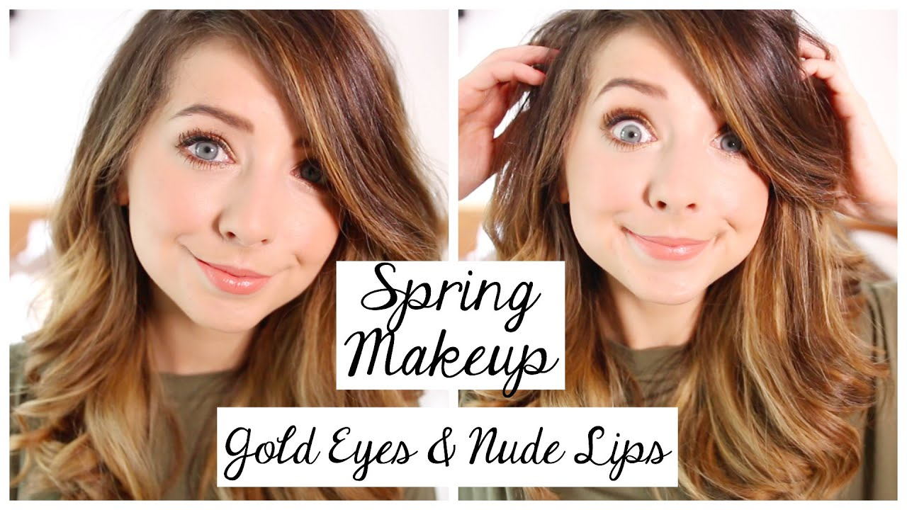 Spring makeup tutorial gold eyes nude lips zoella youtube baditri Gallery