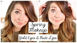 Spring Makeup Tutorial | Gold Eyes & Nude Lips | Zoella
