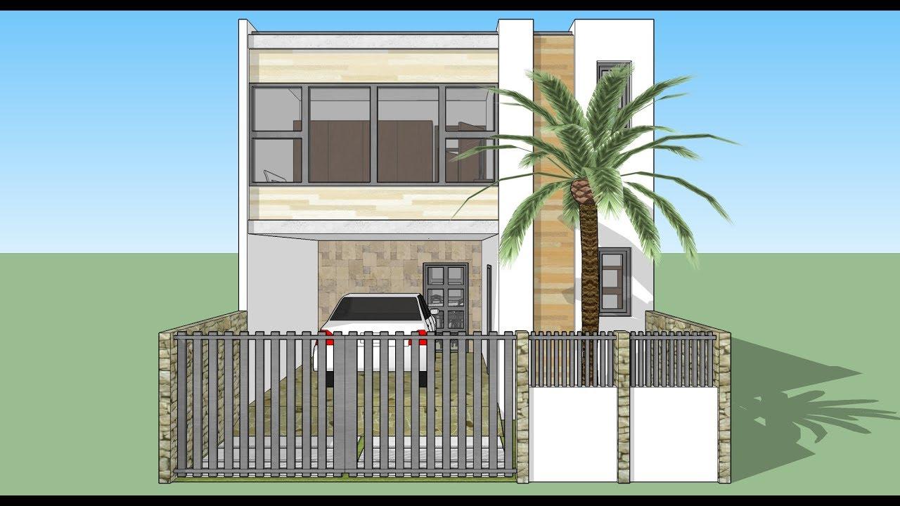 Casa en un terreno de 6x12 mt dos pisos fachada y dise o for Diseno de casa de 7 x 17