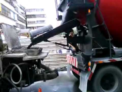 FUSO Concrete Pump Truck and FUSO Concretes Working Action.MP4
