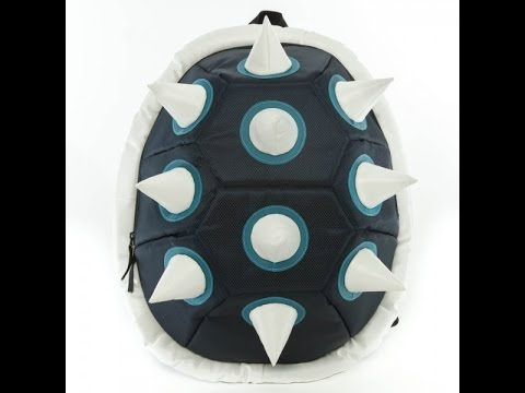 White Spiked Blue Shell Backpack Review - YouTube 347865b510