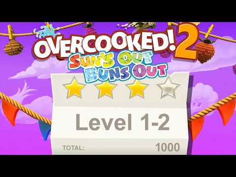 Overcooked 2 Suns Out Buns Out Level 1-2 4 Stars 2 Player Co-op Walkthrough |